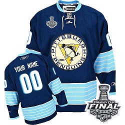 Men's Reebok Pittsburgh Penguins Customized Authentic Navy Blue Third Vintage 2016 Stanley Cup Final Bound NHL Jersey