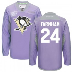 Bobby Farnham Pittsburgh Penguins Reebok Authentic 2016 Hockey Fights Cancer Practice Jersey (Purple)