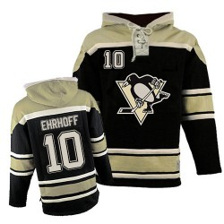 Christian Ehrhoff Pittsburgh Penguins Authentic Old Time Hockey Sawyer Hooded Sweatshirt Jersey (Black)