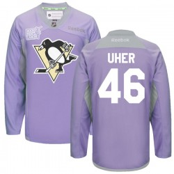 Dominik Uher Pittsburgh Penguins Reebok Authentic 2016 Hockey Fights Cancer Practice Jersey (Purple)