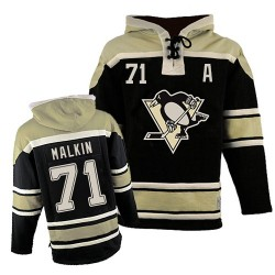 Evgeni Malkin Pittsburgh Penguins Authentic Old Time Hockey Sawyer Hooded Sweatshirt Jersey (Black)
