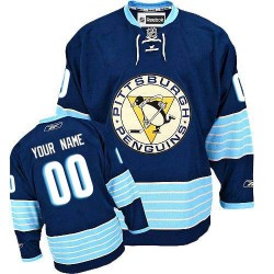 Reebok Pittsburgh Penguins Men's Customized Authentic Navy Blue Vintage New Third Winter Classic Jersey