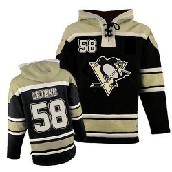 Kris Letang Pittsburgh Penguins Authentic Old Time Hockey Sawyer Hooded Sweatshirt Jersey (Black)