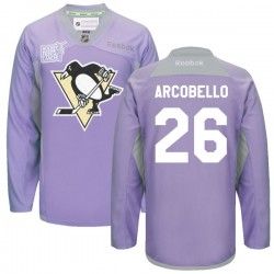 Mark Arcobello Pittsburgh Penguins Reebok Authentic 2016 Hockey Fights Cancer Practice Jersey (Purple)