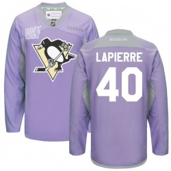 Maxim Lapierre Pittsburgh Penguins Reebok Authentic 2016 Hockey Fights Cancer Practice Jersey (Purple)