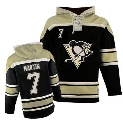 Paul Martin Pittsburgh Penguins Authentic Old Time Hockey Sawyer Hooded Sweatshirt Jersey (Black)