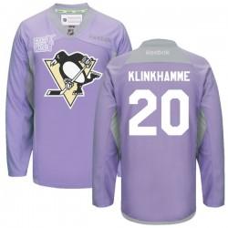 Rob Klinkhammer Pittsburgh Penguins Reebok Authentic 2016 Hockey Fights Cancer Practice Jersey (Purple)