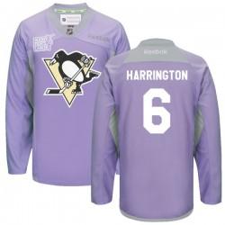 Scott Harrington Pittsburgh Penguins Reebok Authentic 2016 Hockey Fights Cancer Practice Jersey (Purple)