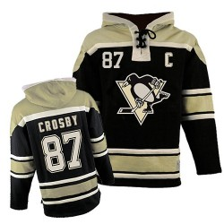 Sidney Crosby Pittsburgh Penguins Authentic Old Time Hockey Sawyer Hooded Sweatshirt Jersey (Black)