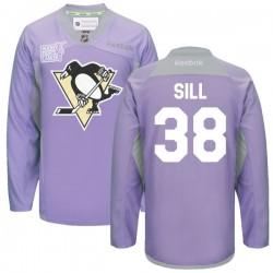 Zach Sill Pittsburgh Penguins Reebok Authentic 2016 Hockey Fights Cancer Practice Jersey (Purple)