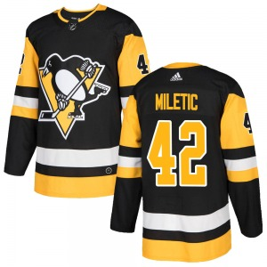 Sam Miletic Pittsburgh Penguins Adidas Youth Authentic Home Jersey (Black)