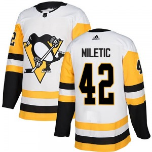 Sam Miletic Pittsburgh Penguins Adidas Youth Authentic Away Jersey (White)