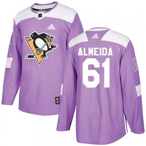 Justin Almeida Pittsburgh Penguins Adidas Authentic Fights Cancer Practice Jersey (Purple)