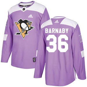 Matthew Barnaby Pittsburgh Penguins Adidas Authentic Fights Cancer Practice Jersey (Purple)