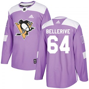 Jordy Bellerive Pittsburgh Penguins Adidas Authentic Fights Cancer Practice Jersey (Purple)