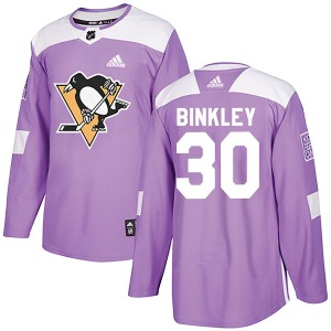 Les Binkley Pittsburgh Penguins Adidas Authentic Fights Cancer Practice Jersey (Purple)