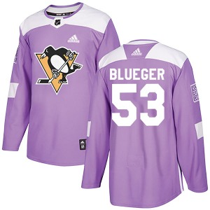 Teddy Blueger Pittsburgh Penguins Adidas Authentic Purple Fights Cancer Practice Jersey (Blue)