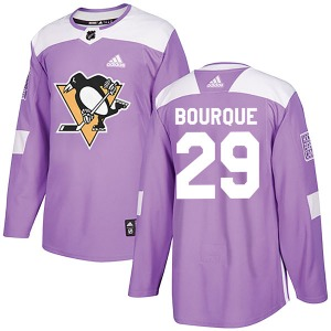 Phil Bourque Pittsburgh Penguins Adidas Authentic Fights Cancer Practice Jersey (Purple)
