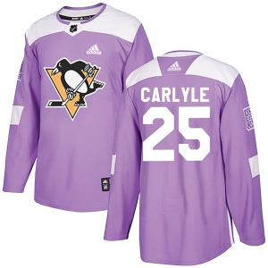 Randy Carlyle Pittsburgh Penguins Adidas Authentic Fights Cancer Practice Jersey (Purple)