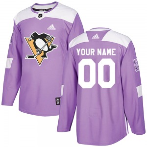 Custom Pittsburgh Penguins Adidas Authentic Fights Cancer Practice Jersey (Purple)