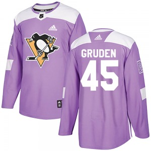 Jonathan Gruden Pittsburgh Penguins Adidas Authentic Fights Cancer Practice Jersey (Purple)
