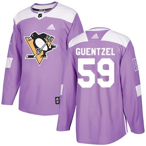 Jake Guentzel Pittsburgh Penguins Adidas Authentic Fights Cancer Practice Jersey (Purple)