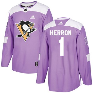 Denis Herron Pittsburgh Penguins Adidas Authentic Fights Cancer Practice Jersey (Purple)