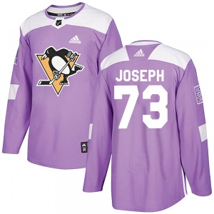 Pierre-Olivier Joseph Pittsburgh Penguins Adidas Authentic ized Fights Cancer Practice Jersey (Purple)