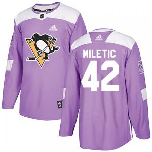 Sam Miletic Pittsburgh Penguins Adidas Authentic Fights Cancer Practice Jersey (Purple)