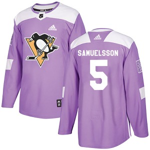 Ulf Samuelsson Pittsburgh Penguins Adidas Authentic Fights Cancer Practice Jersey (Purple)