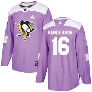 Derek Sanderson Pittsburgh Penguins Adidas Authentic Fights Cancer Practice Jersey (Purple)