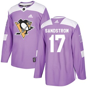 Tomas Sandstrom Pittsburgh Penguins Adidas Authentic Fights Cancer Practice Jersey (Purple)