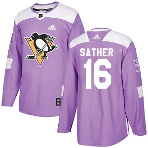 Glen Sather Pittsburgh Penguins Adidas Authentic Fights Cancer Practice Jersey (Purple)