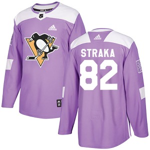 Martin Straka Pittsburgh Penguins Adidas Authentic Fights Cancer Practice Jersey (Purple)