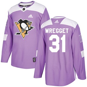 Ken Wregget Pittsburgh Penguins Adidas Authentic Fights Cancer Practice Jersey (Purple)