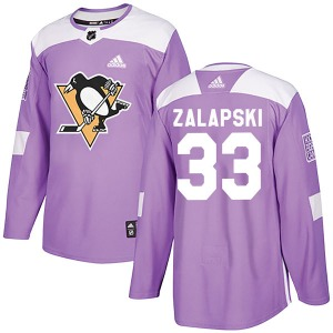 Zarley Zalapski Pittsburgh Penguins Adidas Authentic Fights Cancer Practice Jersey (Purple)
