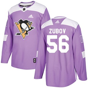 Sergei Zubov Pittsburgh Penguins Adidas Authentic Fights Cancer Practice Jersey (Purple)