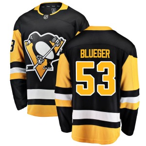 Teddy Blueger Pittsburgh Penguins Fanatics Branded Breakaway Black Home Jersey (Blue)