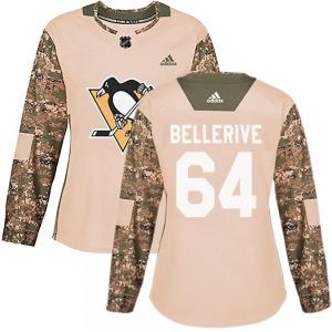 Jordy Bellerive Pittsburgh Penguins Adidas Women's Authentic Veterans Day Practice Jersey (Camo)