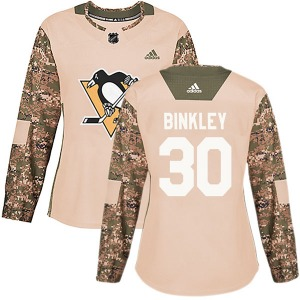 Les Binkley Pittsburgh Penguins Adidas Women's Authentic Veterans Day Practice Jersey (Camo)
