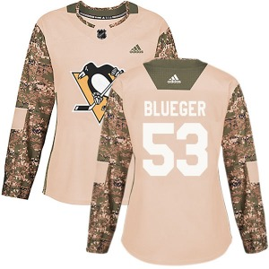Teddy Blueger Pittsburgh Penguins Adidas Women's Authentic Camo Veterans Day Practice Jersey (Blue)