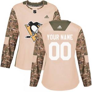 Custom Pittsburgh Penguins Adidas Women's Authentic Veterans Day Practice Jersey (Camo)