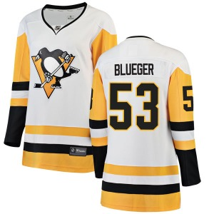 Teddy Blueger Pittsburgh Penguins Fanatics Branded Women's Breakaway White Away Jersey (Blue)