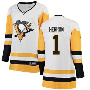 Denis Herron Pittsburgh Penguins Fanatics Branded Women's Breakaway Away Jersey (White)
