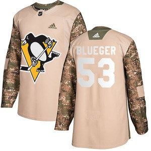 Teddy Blueger Pittsburgh Penguins Adidas Youth Authentic Camo Veterans Day Practice Jersey (Blue)