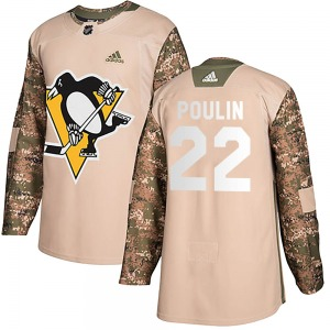 Samuel Poulin Pittsburgh Penguins Adidas Youth Authentic Veterans Day Practice Jersey (Camo)