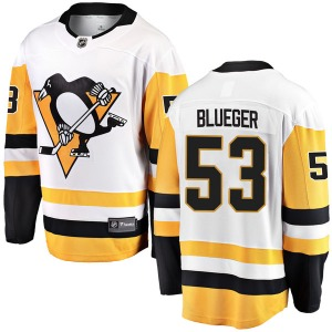 Teddy Blueger Pittsburgh Penguins Fanatics Branded Breakaway White Away Jersey (Blue)