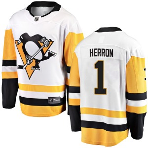 Denis Herron Pittsburgh Penguins Fanatics Branded Breakaway Away Jersey (White)