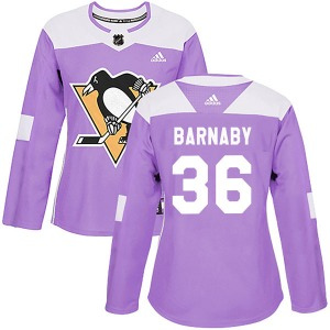 Matthew Barnaby Pittsburgh Penguins Adidas Women's Authentic Fights Cancer Practice Jersey (Purple)