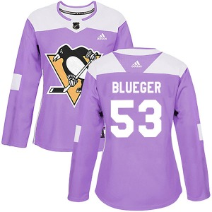 Teddy Blueger Pittsburgh Penguins Adidas Women's Authentic Purple Fights Cancer Practice Jersey (Blue)